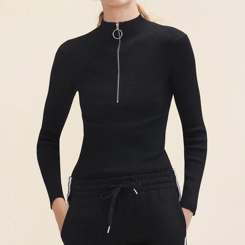 Pullover sottile in maglia con zip : Maglieria colore Nero