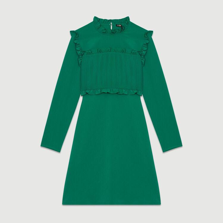 Vestito dritto con plastron plissettato : Vestiti colore Verde