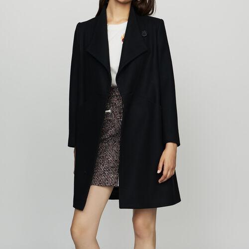 Cappotto dritto in misto cashmere : Cappotti colore Blu Marino