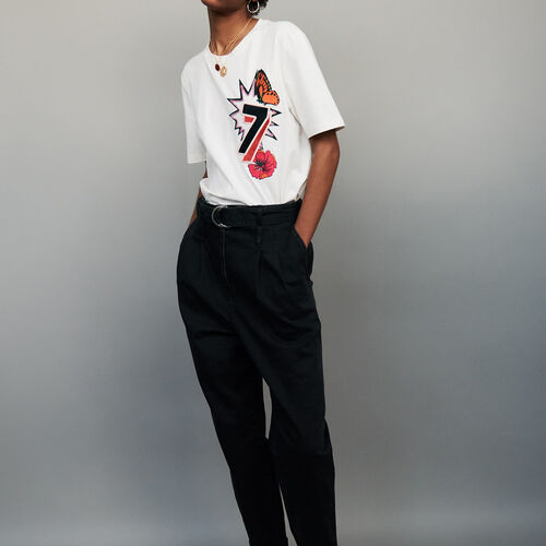 Tee-shirt in cotone con ricamo 77 : T-shirts colore ECRU