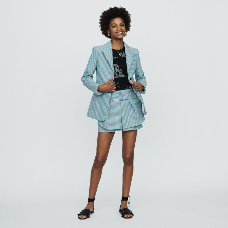 Short in natté stile tweed : Gonne e shorts colore Blu