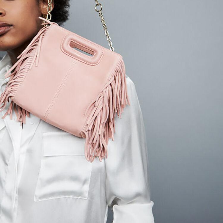 Mini borsa M con frange in pelle : Sacs colore