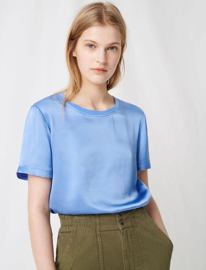T-shirt bi-materiale in cotone e seta - T-Shirts - MAJE