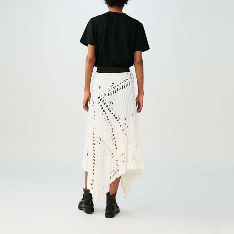 Gonna lunga con plissettaggio perforato : Gonne e shorts colore Bianco