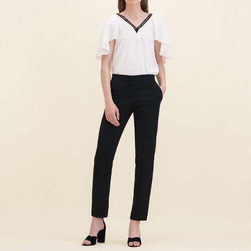 Pantaloni dritti in crêpe : Pantaloni & jeans colore Nero