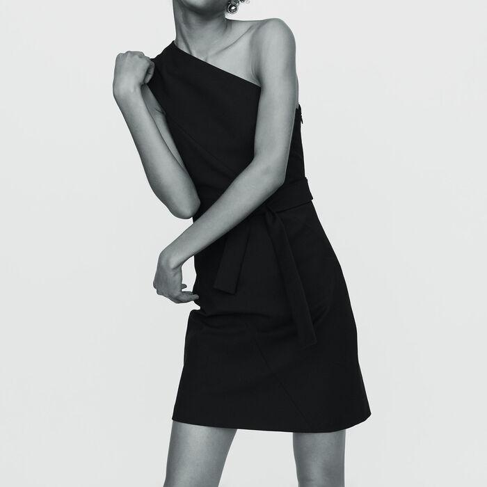 Vestito corto con spalle asimmetriche : Prêt-à-porter colore Nero