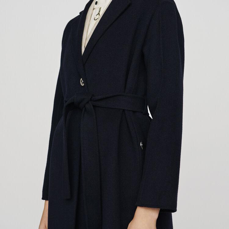 Cappotto in lana double face con cintura : Cappotti e Giubbotti colore Blu Marino