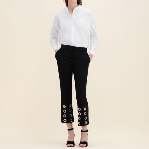 Pantaloni dritti con occhielli in crêpe : Pantaloni colore Nero