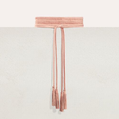Cintura alta scamosciata da annodare : Accessori colore Rosa Tenue