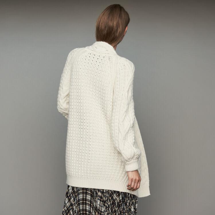 Cardigan oversize in maglia a trecce : Maglieria colore ECRU