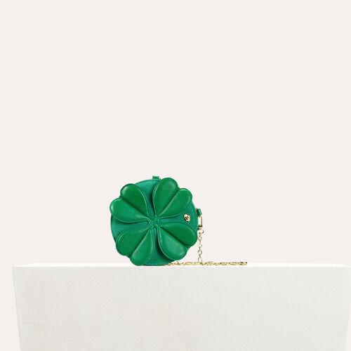 Bisaccia rotonda in pelle con trifoglio : categories colore Verde