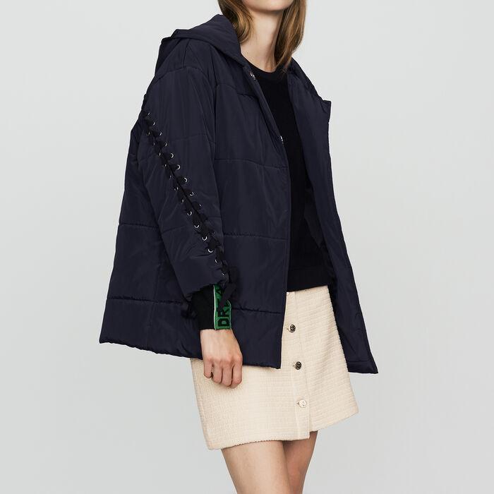 Piumino corto allacciato : Cappotti colore Blu Marino