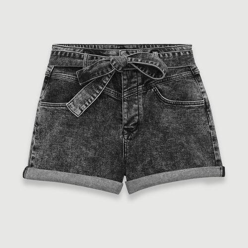Short delavè con cintura : Gonne e shorts colore Antracite