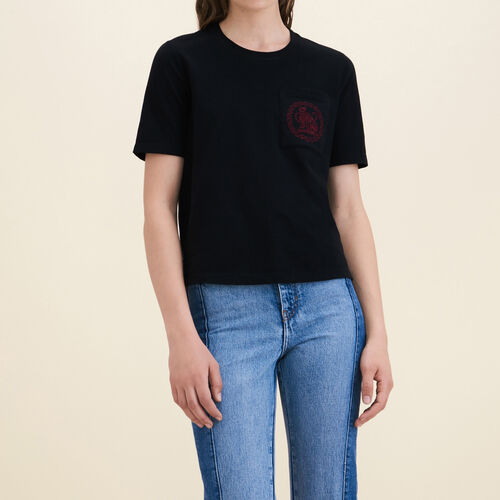 T-shirt in cotone : T-shirts colore Nero
