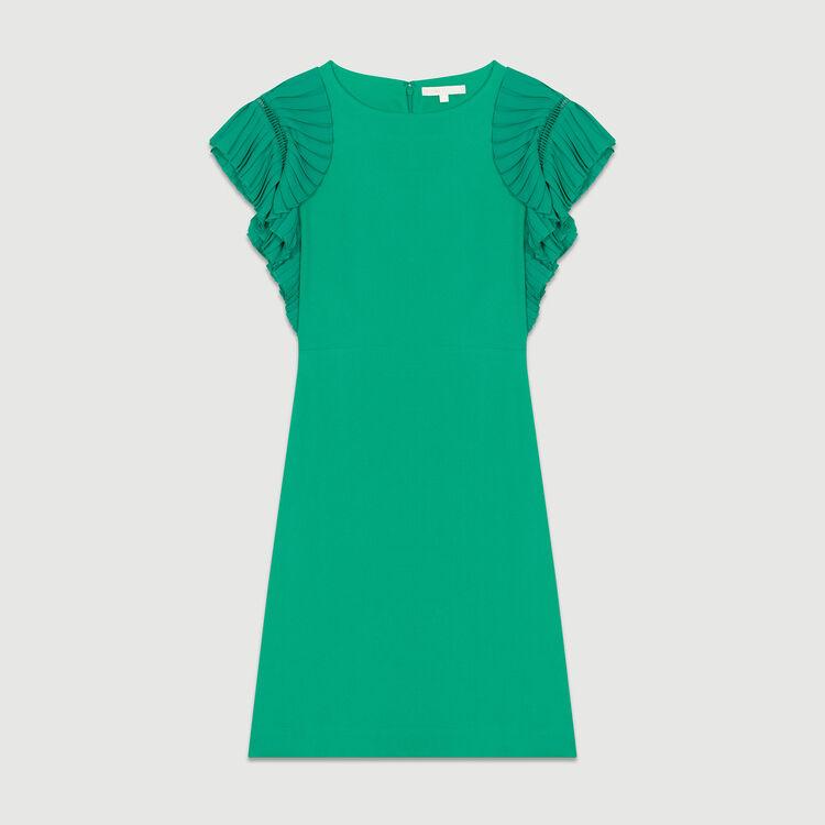 Vestito dritto con maniche plissettate : Vestiti colore VERT