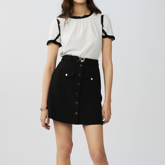 A line skirt with belt : Gonne e shorts colore Nero