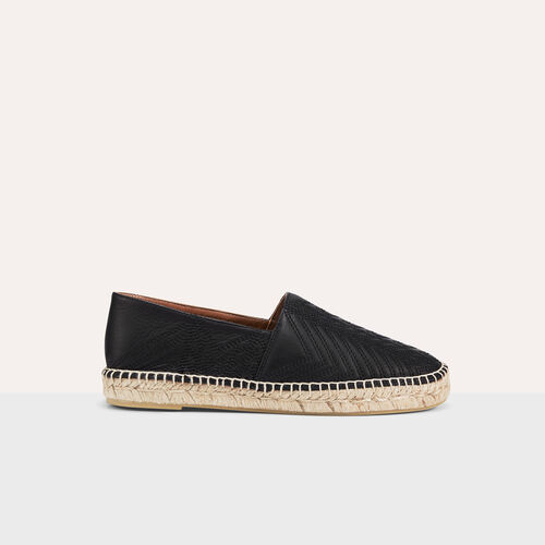 Espadrillas in pelle con ricami : Accessori colore Nero
