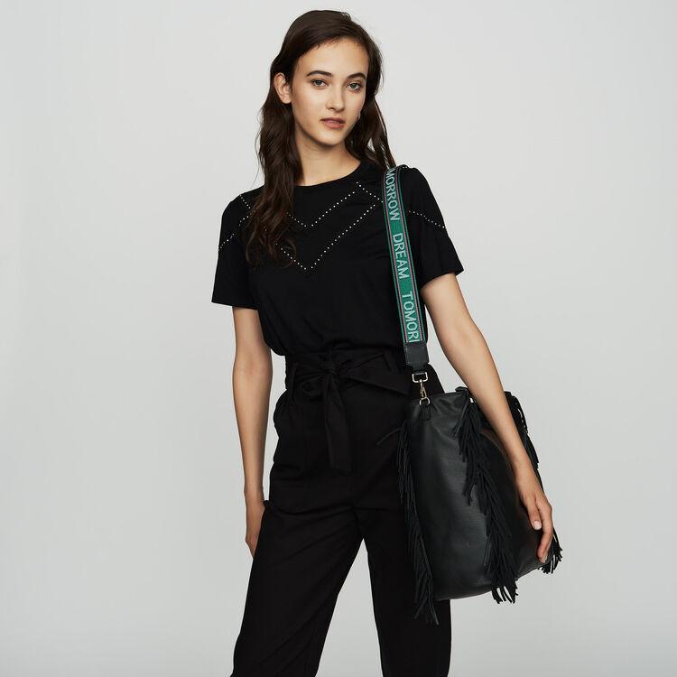 Tee-shirt loose con borchie : SoldesUK-All colore Nero