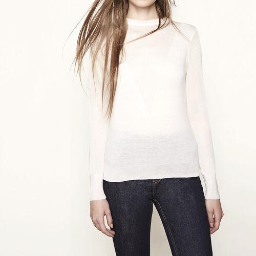 Pullover in maglia e fili lurex : Basso Prezzo colore Ecru