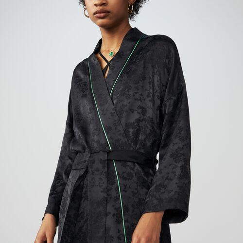 Giacca lunga stile kimono in jacquard : Giacche colore Nero