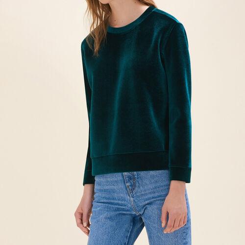 Felpa diritta in velluto : Pullover e cardigan colore Rosa