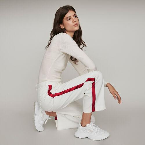 Pantaloni larghi con bande a contrasto : Pantaloni e Jeans colore Ecru