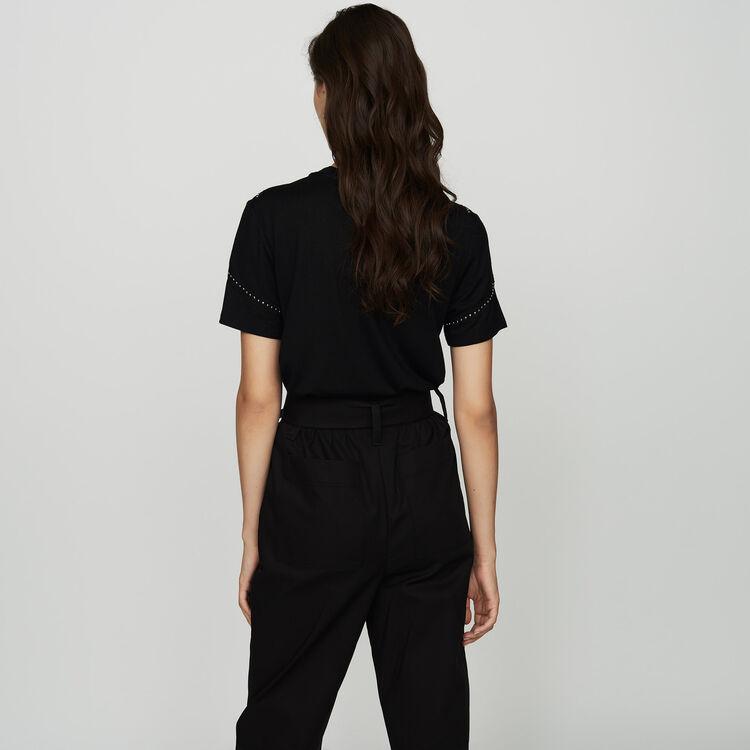 Tee-shirt loose con borchie : T-Shirts colore Nero
