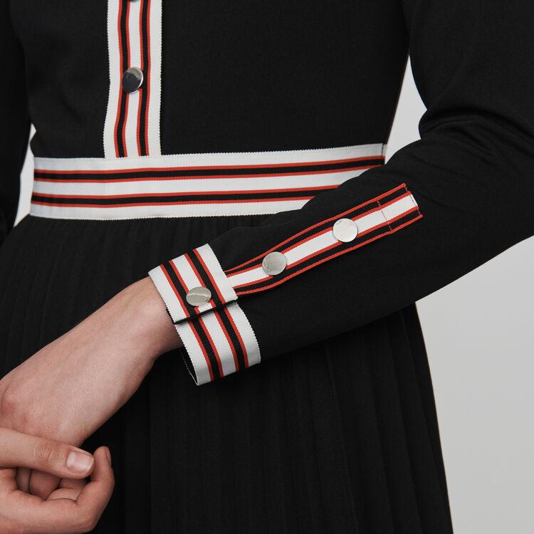 Vestito plissettato con bande : Vestiti colore Nero