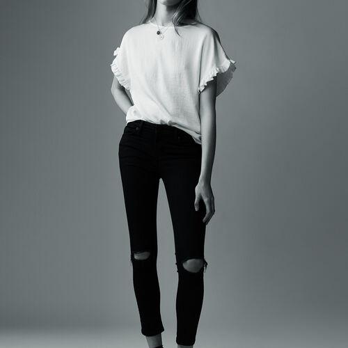 Jeans slim 7/8 con ricami : Pantaloni & jeans colore Nero