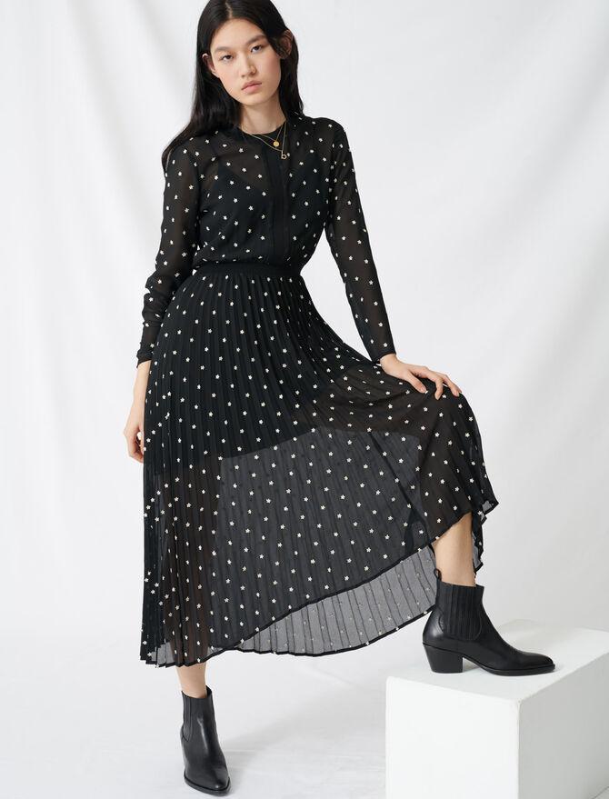 Vestito lungo plissettato con ricami - Vestiti - MAJE