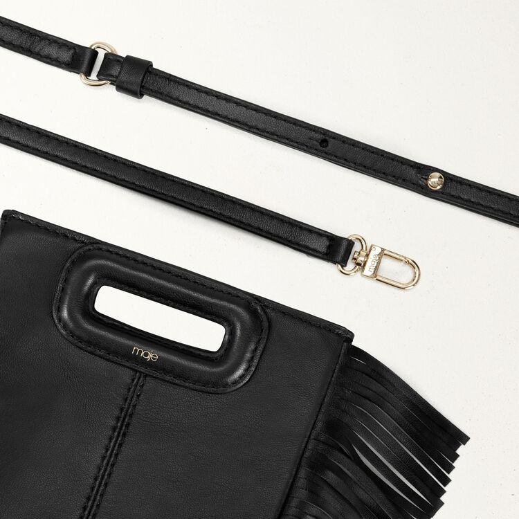 Mini borsa M con frange in pelle : Borse M colore Nero