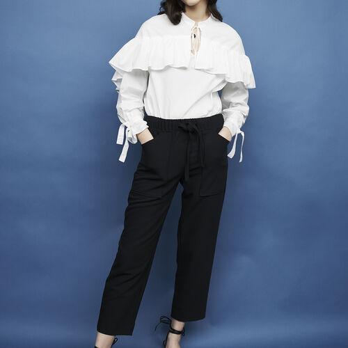 Pantaloni larghi in crêpe : Pantaloni & jeans colore Blu Marino