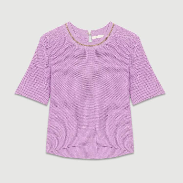 Pull a maniche corte in maglia : Maglieria colore LILAS