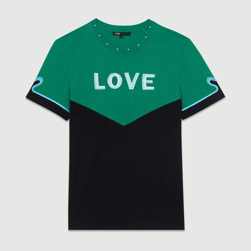 Tee-shirt bicolore con ricamo : T-Shirts colore Multicolore
