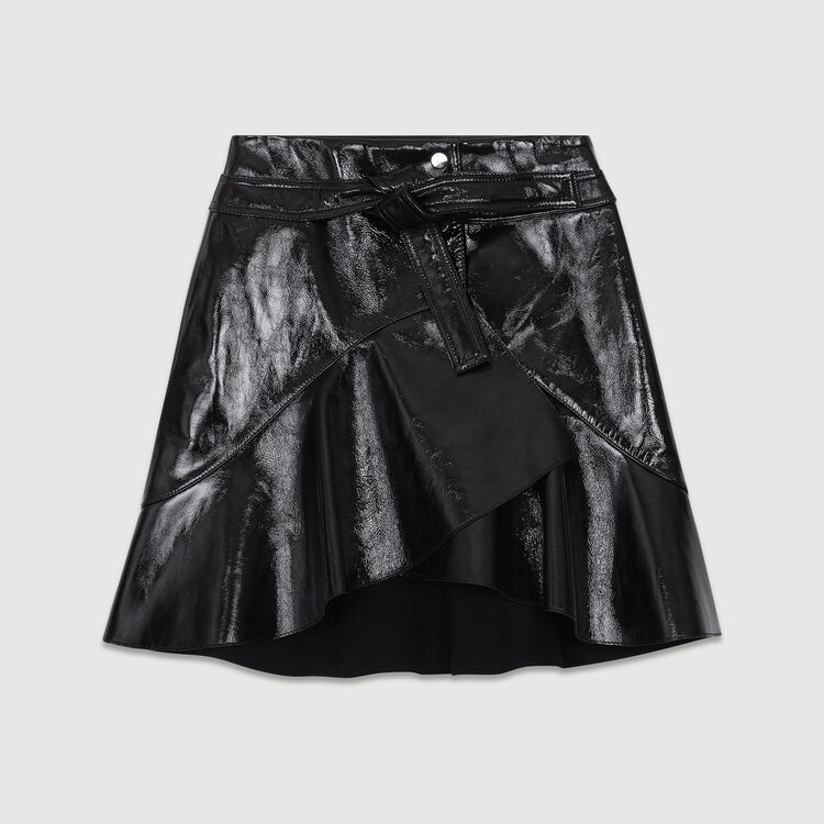 Gonna di vernice asimmetrica in pelle : Gonne e shorts colore Nero