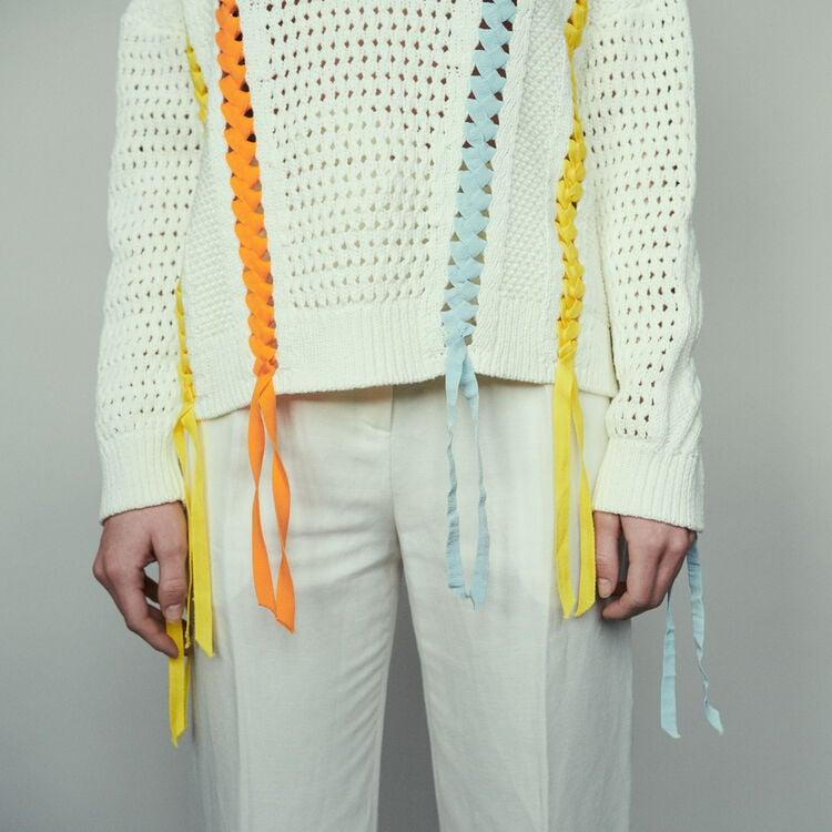 Pull in maglia fantasia con nastro : Pullover e cardigan colore ECRU