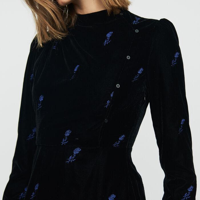Vestito in velluto ricamatc : Vestiti colore Nero