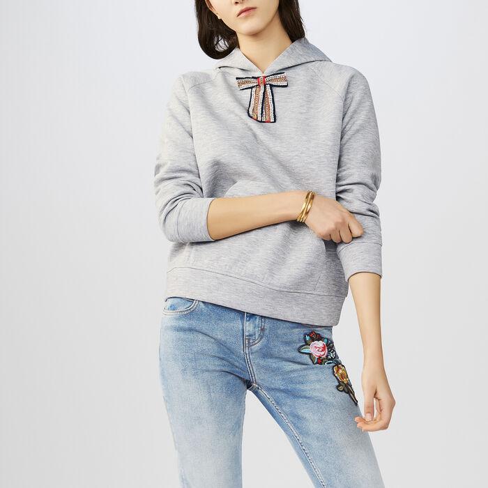 Felpa con fiocco rimovibile : T-Shirts colore Grigio
