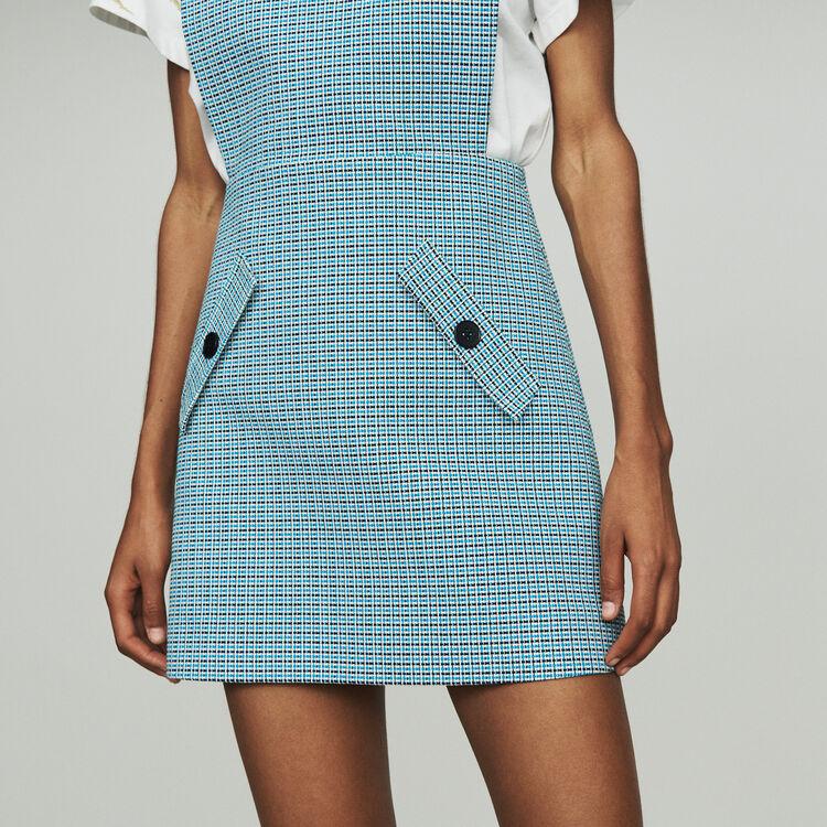 Vestito chasuble in natté stile tweed : Vestiti colore Blu
