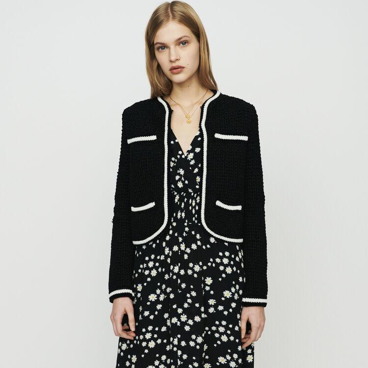 Cardigan corto in maglia : Pullover e cardigan colore Nero