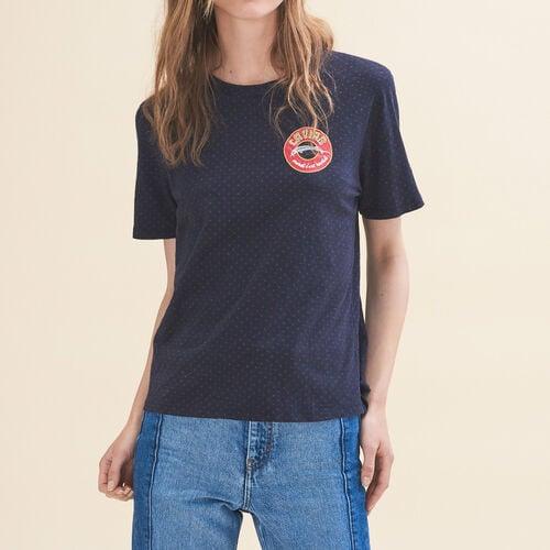 T-shirt ricamata Martedì : T-shirts colore Blu Marino