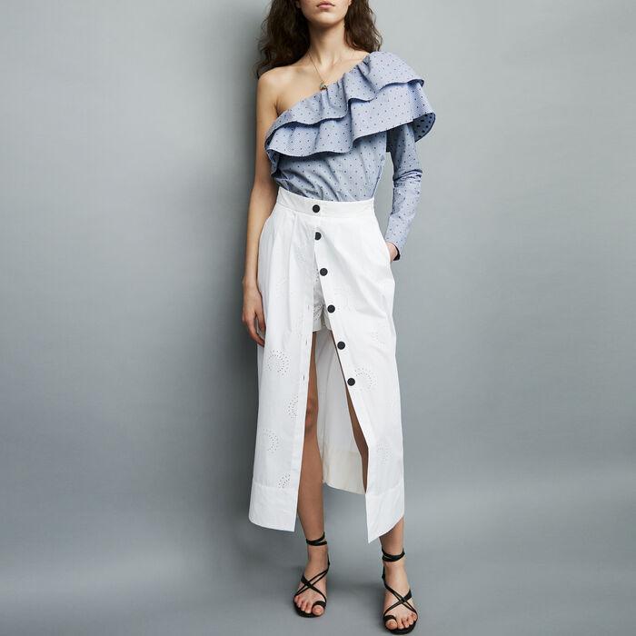 Gonna lunga con ricamo : Gonne e shorts colore Bianco