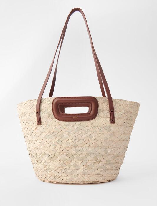 Cesto intrecciato in palma e pelle : Tutte le borse colore Caramello