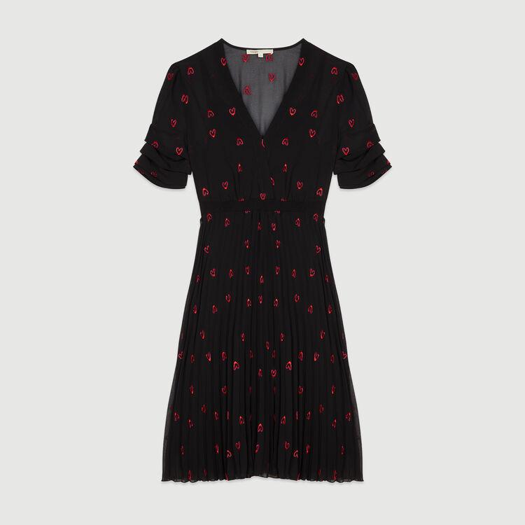 Dress with hearts embroidery : Vestiti colore Nero