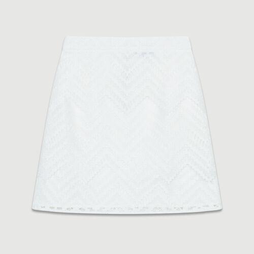 Gonna corta con gioco di pizzi : Prêt-à-porter colore Bianco