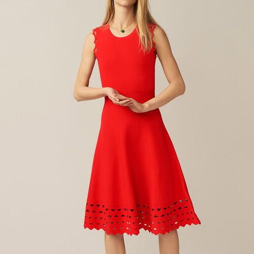 Abito in maglia traforata : Vestiti colore ROUGE