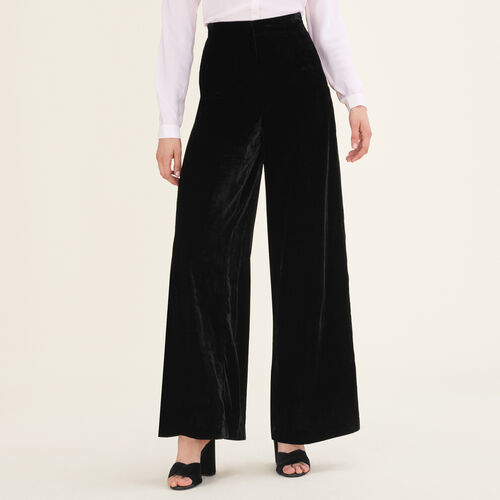 Pantaloni larghi in velluto : Pantaloni e jeans colore Nero