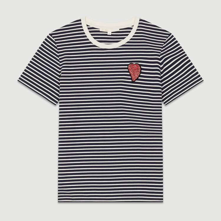 Tee-shirt a righe con toppa : T-Shirts colore A Righe