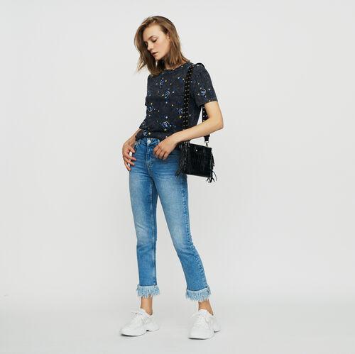 Jeans dritti con frange : Jeans colore Denim