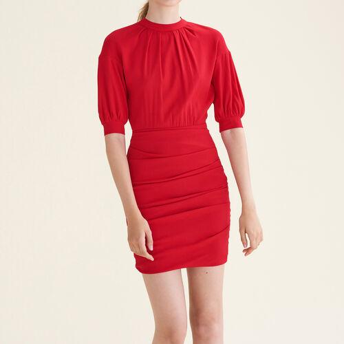 Abito drappeggiato bimateriale : Vestiti colore Rosso
